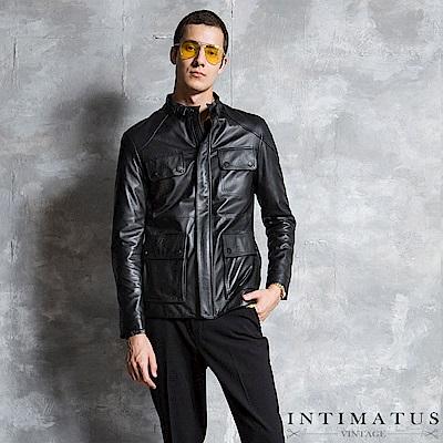 INTIMATUS 真皮 尊爵男士立領多口袋小羊皮皮衣 經典黑