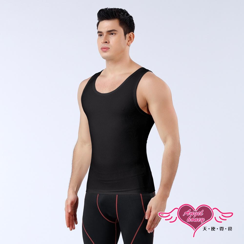 塑身衣 簡約時尚 短袖彈性透氣運動背心 內搭背心 健身 (黑色M~2L) AngelHoney天使霓裳