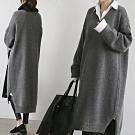 MOCOV領羅紋領厚針織毛料前短後長側開叉粗針織長版毛衣洋裝