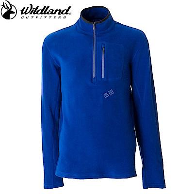【Wildland 荒野】男彈性PILE保暖上衣藍