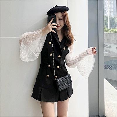 DABI 韓系蕾絲喇叭袖拼接荷葉邊雙排扣長袖洋裝