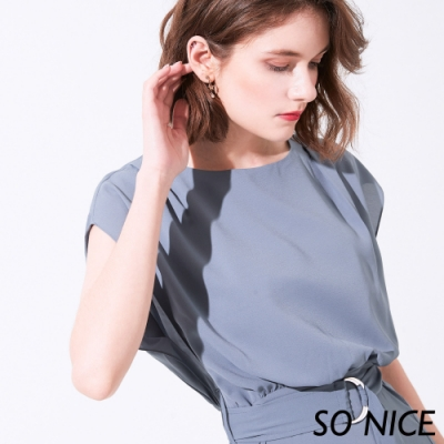 SO NICE優雅開衩腰帶洋裝