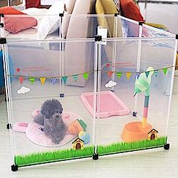 寵物貴族 日系正品高質感寵物柵欄/寵物圍欄(清新雲朵最新款-2組)