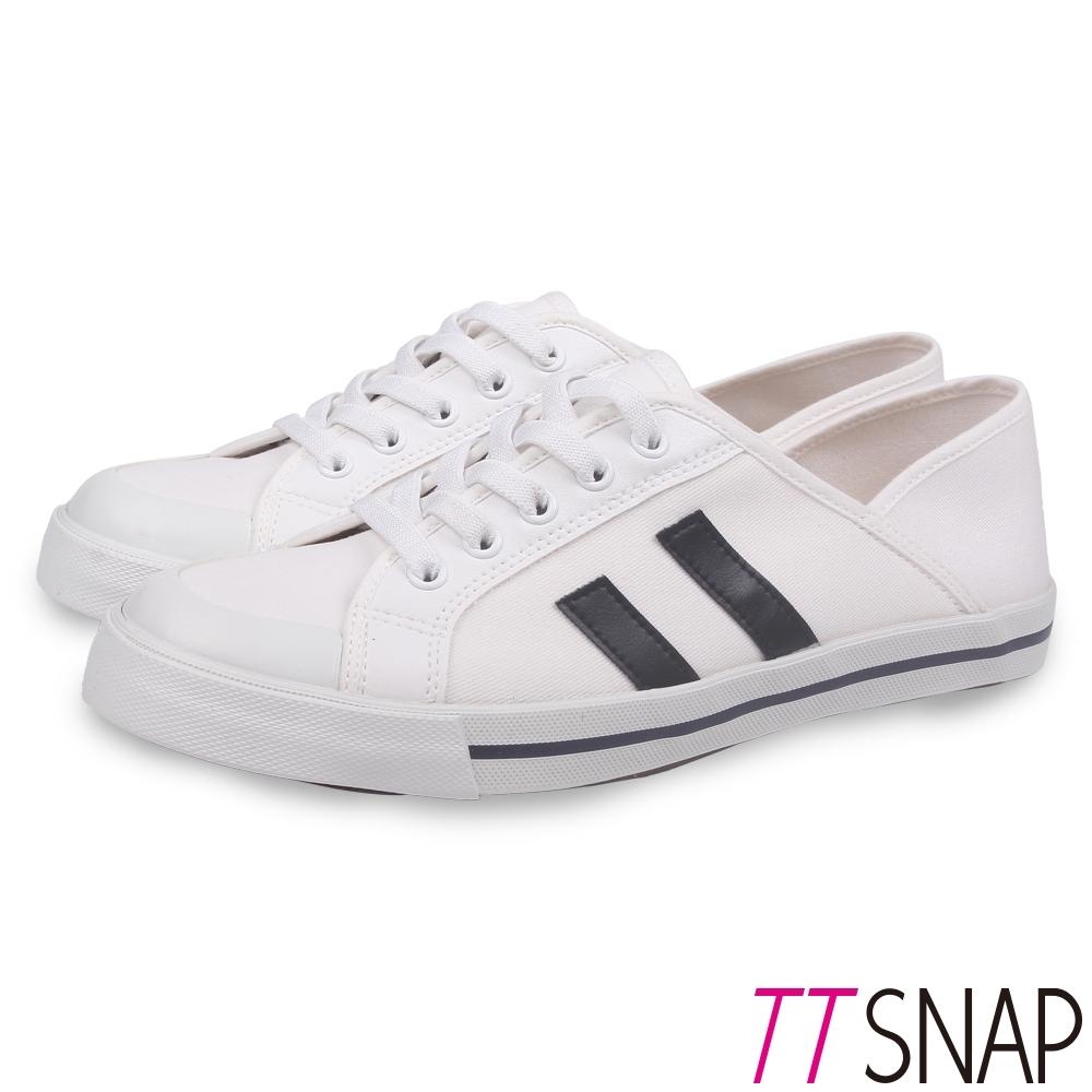 TTSNAP帆布鞋-2way簡約帆布後踩平底鞋 白
