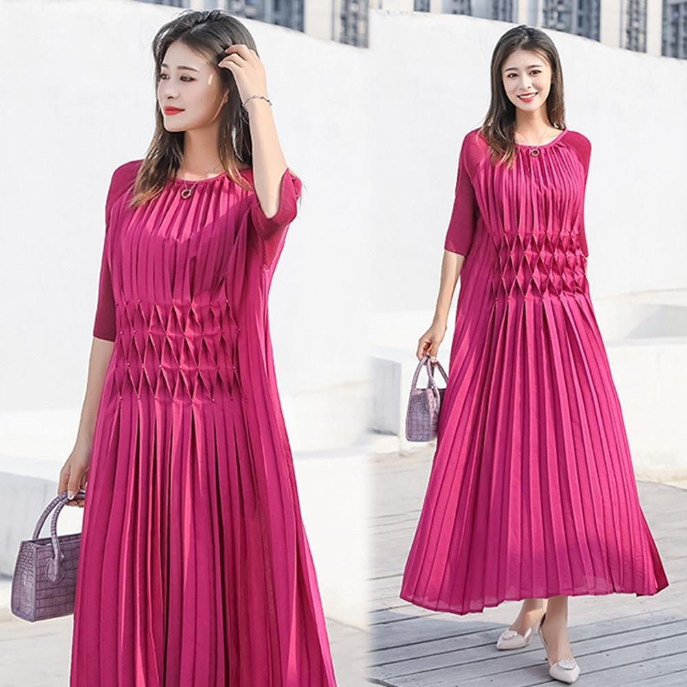 【KEITH-WILL】(預購)飄逸仙女壓褶洋裝(共4色) (桃紅色)