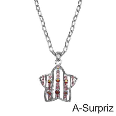 A-Surpriz 星光粉曲晶鑽長項鍊