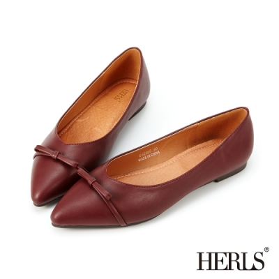 HERLS平底鞋-立體蝴蝶結尖頭平底鞋-酒紅色