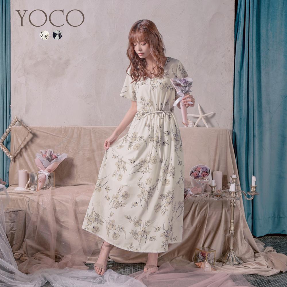 東京著衣-YOCO 浪漫迷人V領腰圍綁帶碎花洋裝-S.M.L(共兩色)