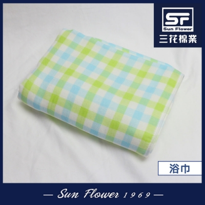 浴巾 三花SunFlower愜意格紋浴巾_綠