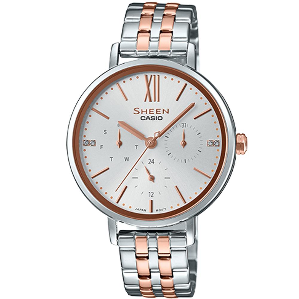 SHEEN粉嫩色系簡約風格多重指針腕錶(SHE-3064SPG-7)蜜桃金X銀/34mm