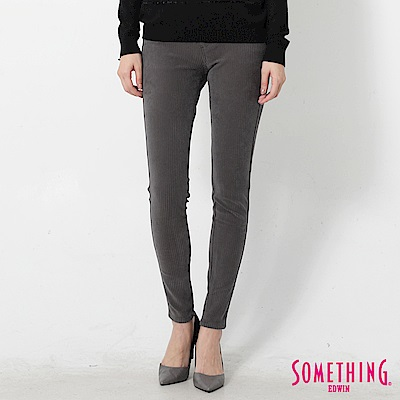 SOMETHING LADIVA伸縮窄直筒牛仔褲-女-灰褐條