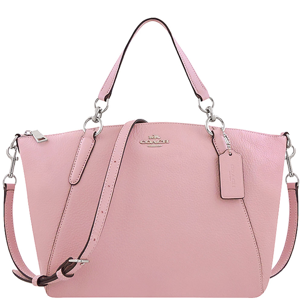 COACH 櫻花粉色荔枝紋皮革手提/斜背兩用包