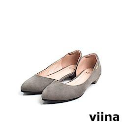 viina Basic素面羊絨布內簍空尖頭鞋 - 黑灰