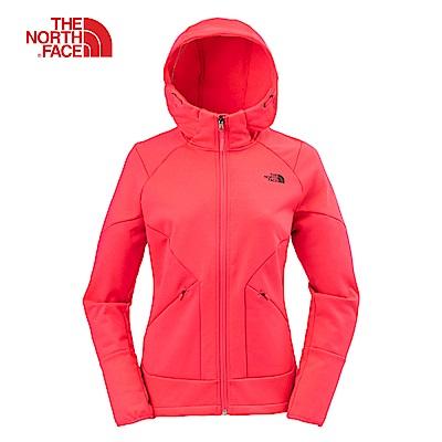 The North Face北面女款粉色防潑水抓絨連帽外套|3L9F4CK