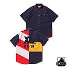 XLARGE S/S PANELED SHIRT短袖襯衫-深藍