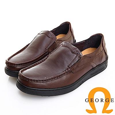 GEORGE 喬治皮鞋 舒適系列 素面超軟牛皮懶人休閒鞋 -深咖