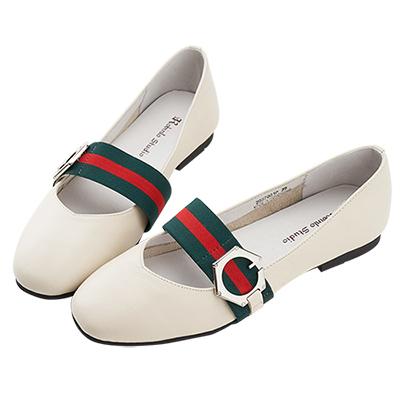Robinlo 文藝條紋織帶牛皮方頭鞋 白