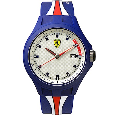 Scuderia Ferrari 法拉利 熱血奔騰大三針日期腕錶-藍/43mm
