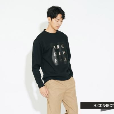 H:CONNECT 韓國品牌 男裝 - 特色字母圖印大學T - 黑