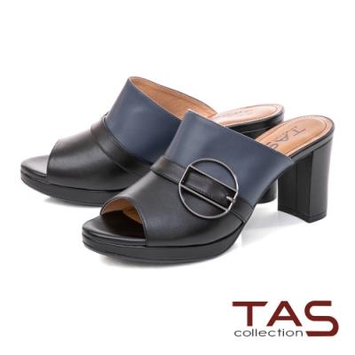 TAS金屬圓扣撞色粗跟涼拖鞋-氣質黑