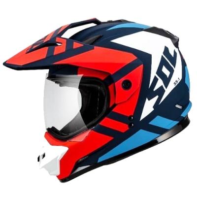 SOL SS-1 荒野 全罩式越野風安全帽(消光藍白紅)含帽舌
