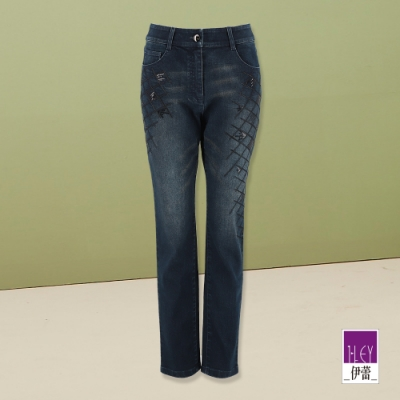 ILEY伊蕾 菱格刺繡水洗牛仔褲(藍)