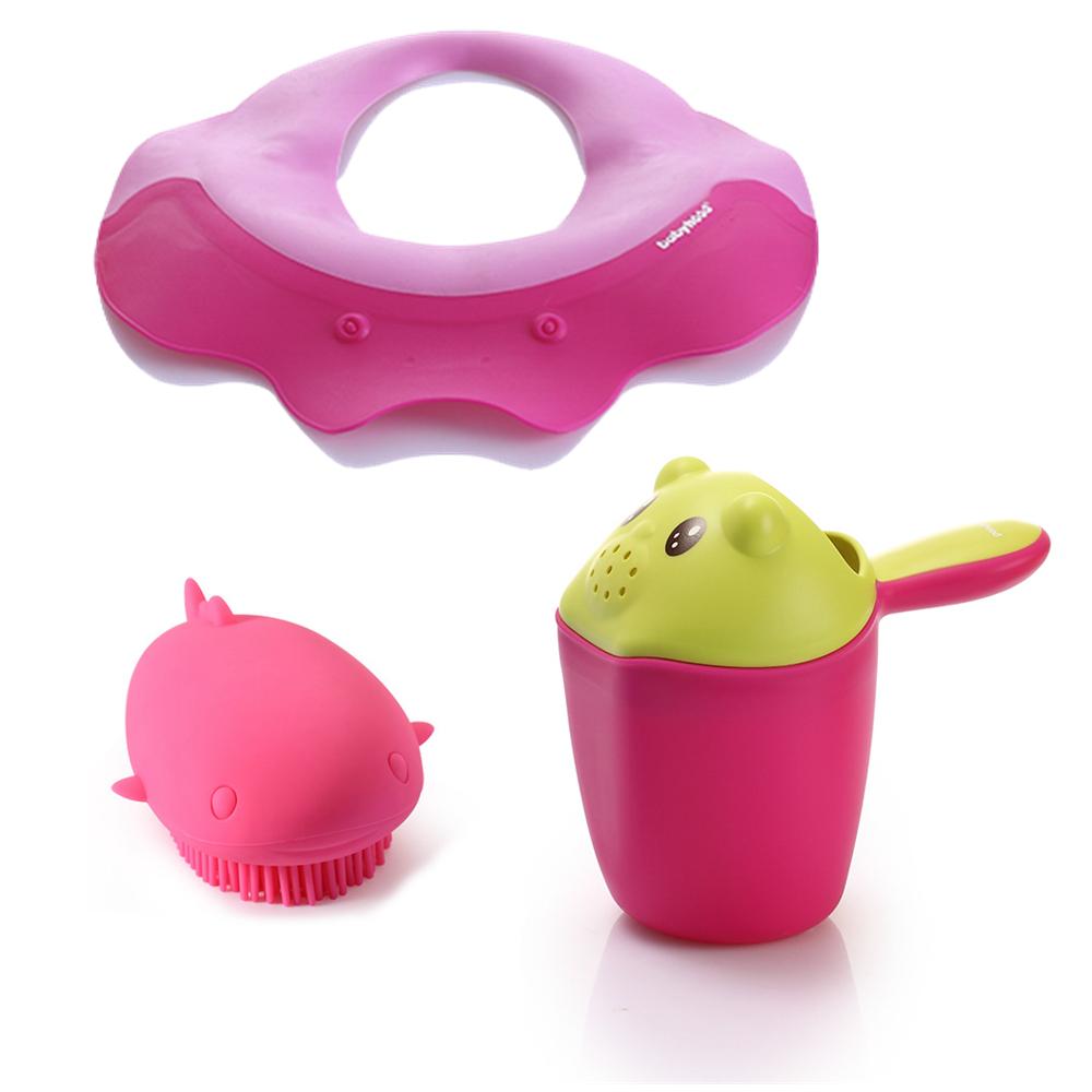 babyhood寶寶沐浴3件組(洗髮帽+洗頭杯+沐浴刷)