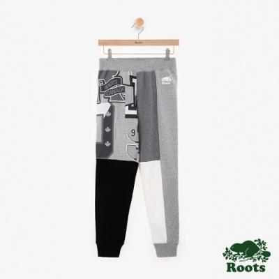 ROOTS女裝  周年系列拼接刷毛休閒棉褲-灰