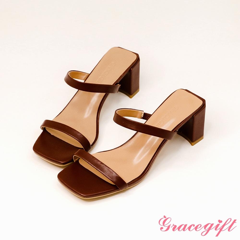 Grace gift-一字雙細帶高跟涼拖鞋 咖