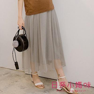 日系小媽咪孕婦裝-台灣製孕婦褲~唯美雙層棉質紗裙 (共二色)