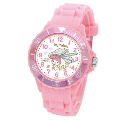 Sanrio三麗鷗二代中型運動彩帶錶34mm美樂蒂(粉)