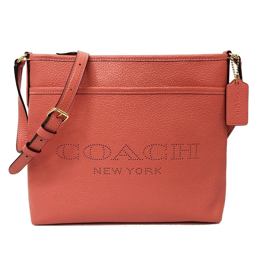 COACH 新款沖孔LOGO前口袋小斜背包(玫瑰粉)