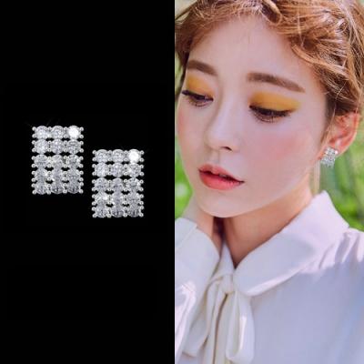 梨花HaNA 韓國925銀鋯石滿鑽方飾性感耳環