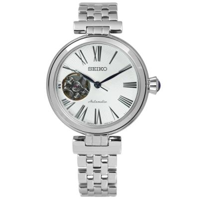 SEIKO 精工 精密 質感 鏤空 機械不鏽鋼腕錶-銀色/33mm