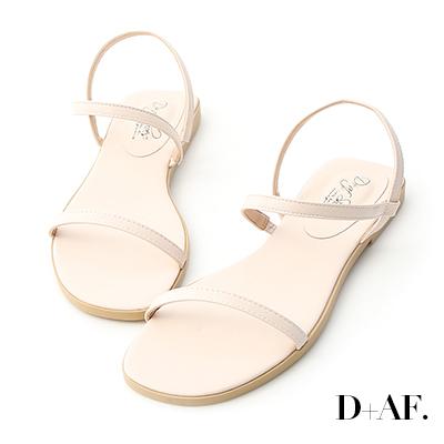 D+AF 個性獨創.一字細帶繞踝平底涼鞋*米