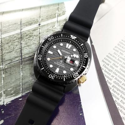 SEIKO 精工 限量款 PROSPEX 海龜 潛水錶 機械錶 太魯閣峽谷 矽膠手錶-黑色/45mm