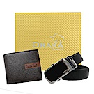 DRAKA 達卡 - 黃金禮盒 真皮皮夾+自動皮帶-7301
