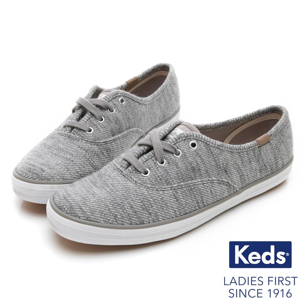 Keds CHAMPION 織紋經典綁帶休閒鞋-淺灰