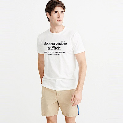 A&F 經典刺繡文字短袖T恤-白色 AF Abercrombie