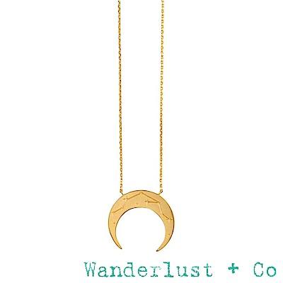 Wanderlust+Co 澳洲品牌 金色水瓶座項鍊 鑲鑽新月項鍊 AQUARIUS