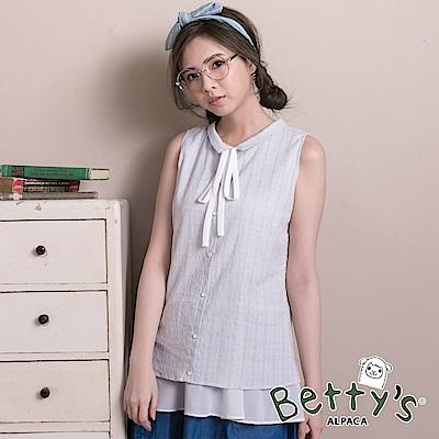 betty's貝蒂思 小立領格紋雪紡拼接假兩件背心(淺藍)