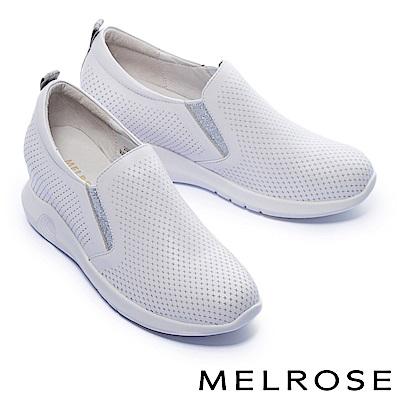 休閒鞋 MELROSE 簡潔純色沖孔全真皮內增高厚底休閒鞋-白