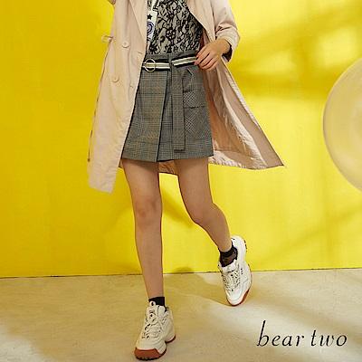 beartwo 經典不敗復古格紋造型短褲(灰色)