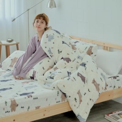 BUHO 極柔暖法蘭絨雙人床包三件組(庫瑪歐巴)