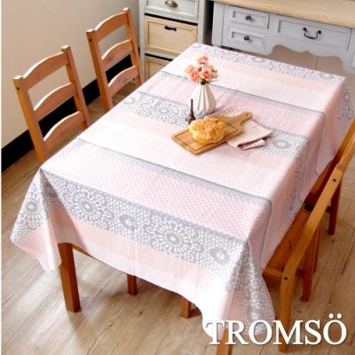 TROMSO北歐生活抗汙防水桌布-花磚粉蕾絲