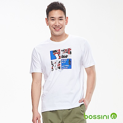 bossini男裝-印花短袖T恤08白