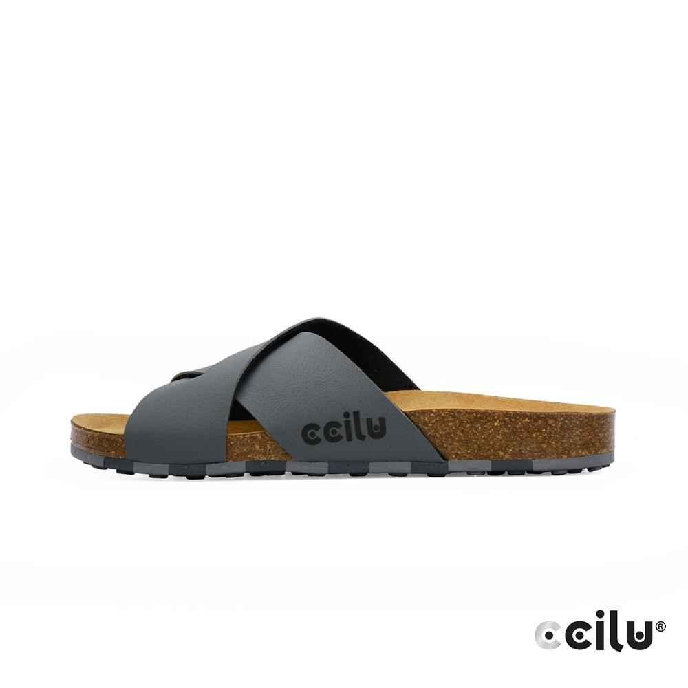 CCILU  交叉皮革平底拖鞋-男款-801003006灰色