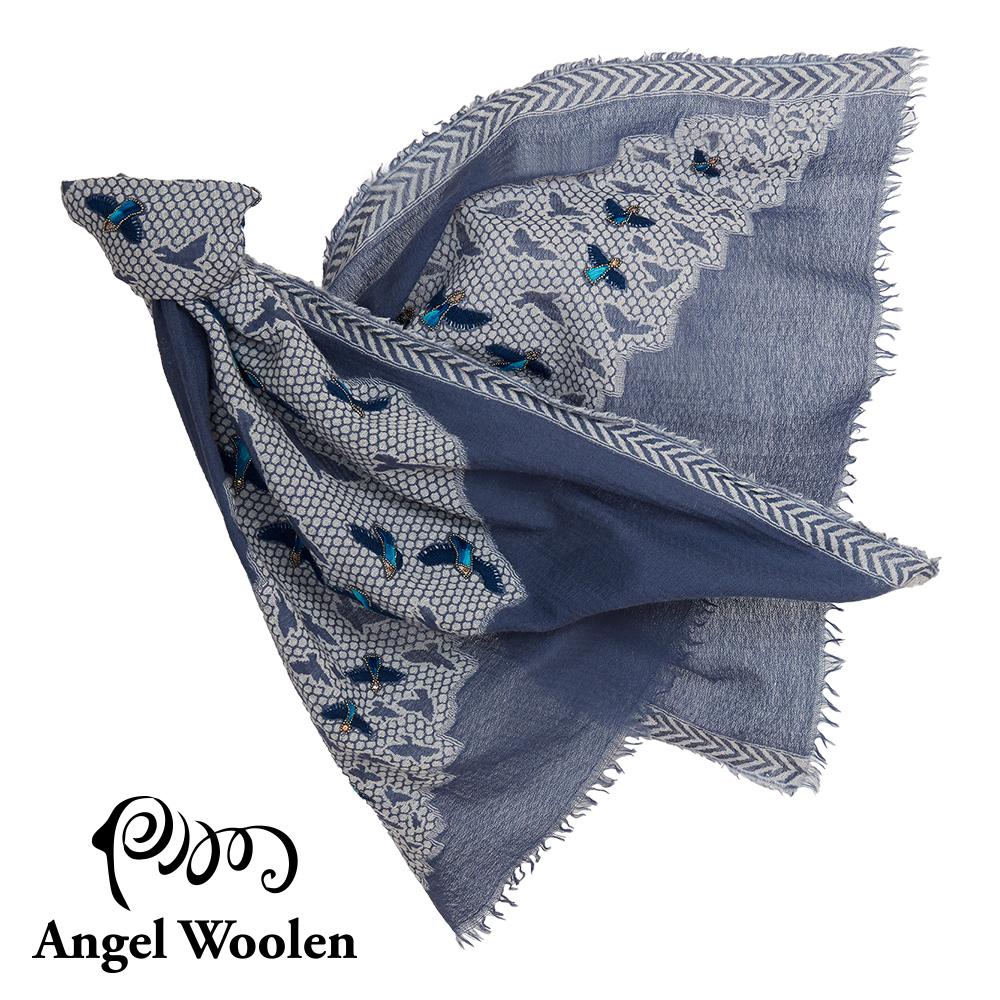 【Angel Woolen】微舞印度手工刺繡串珠羊毛披肩-藍