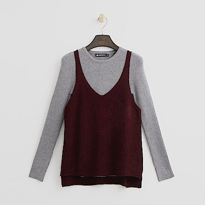 Hang Ten - 女裝 - 兩件式針織上衣-酒紅色