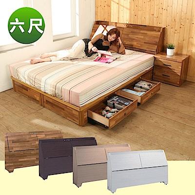 BuyJM雙人6尺2件式房間組(床頭箱+四抽床底)4色-免組